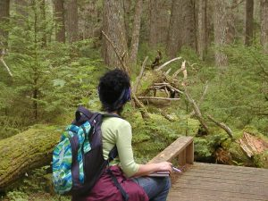 A woman sits and contemplates the woods, illustrating a spiritual not religious meditation