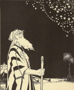 Abraham by Moses Lilien. Here, Abraham contemplates the stars, illustrating the attitude of wonder in Yigdal Elohim Chai