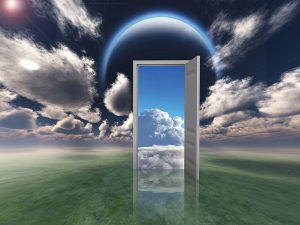 A door in the clouds, leading to other dimensions, illustrating the possibility of new political narrative
