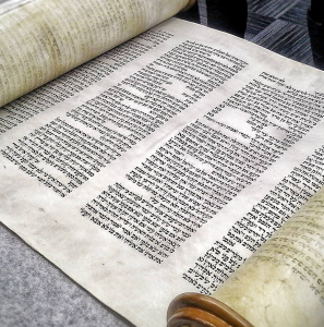 Torah scroll, sacred text of Judaism, photo by Anita Fonseca