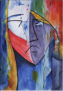 Crying woman watercolor painting by Niraj Man Singh illustrating a post about victims speaking through the biblical book of Lamentations