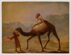 Painting of woman on a camel illustrating a post about the biblical matriarch Rebecca.