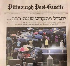 Headline in the Pittsburgh Post-Gazette, November 2, 2018: first sentence of the Jewish Mourner's Kaddish prayer, in Aramaic.