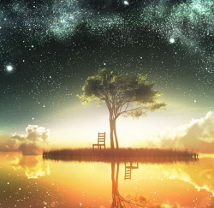 To illustrate a post about praise, a painting of a tree and a chair reflected in the strange yellow light of a pond under a dark green starry sky.