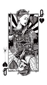 Modern Queen of Hearts drawing where the Queen overflows the edges of her box - a great description of Bathsheba, as she is described in this post.