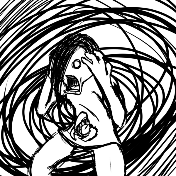 Black and white line drawing of a person overwhelmed by a swirl of negative thoughts around them.