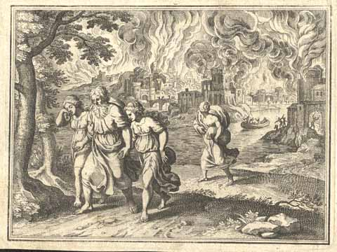 Lot of Sodom flees his burning city with his daughters and wife. Drawing by Mattheus Merian (1593-1650)