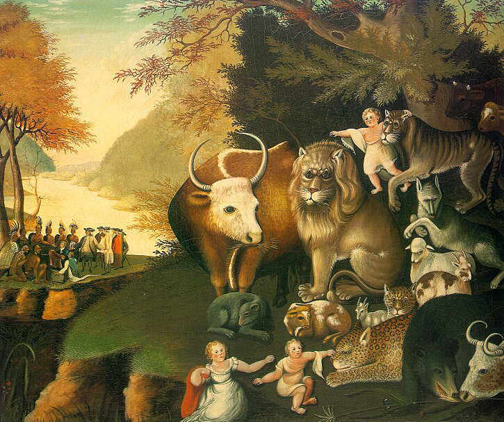 Edward Hicks painting The Peaceable Kingdom illustrating an oracle from the Prophet Isaiah in which the lion lies down with the lamb