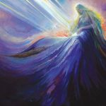"""Jeremiah's mother God says, """"I knew you in the womb"""" illustrated with a woman whose skirts flow into the sky and out of whose belly light rays flow."""