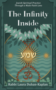 Book cover for Infinity Inside, which shows several spiritual symbols under a forested canopy.