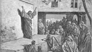 Drawing of the prophet Micah, standing on a platform, teaching in the marketplace.