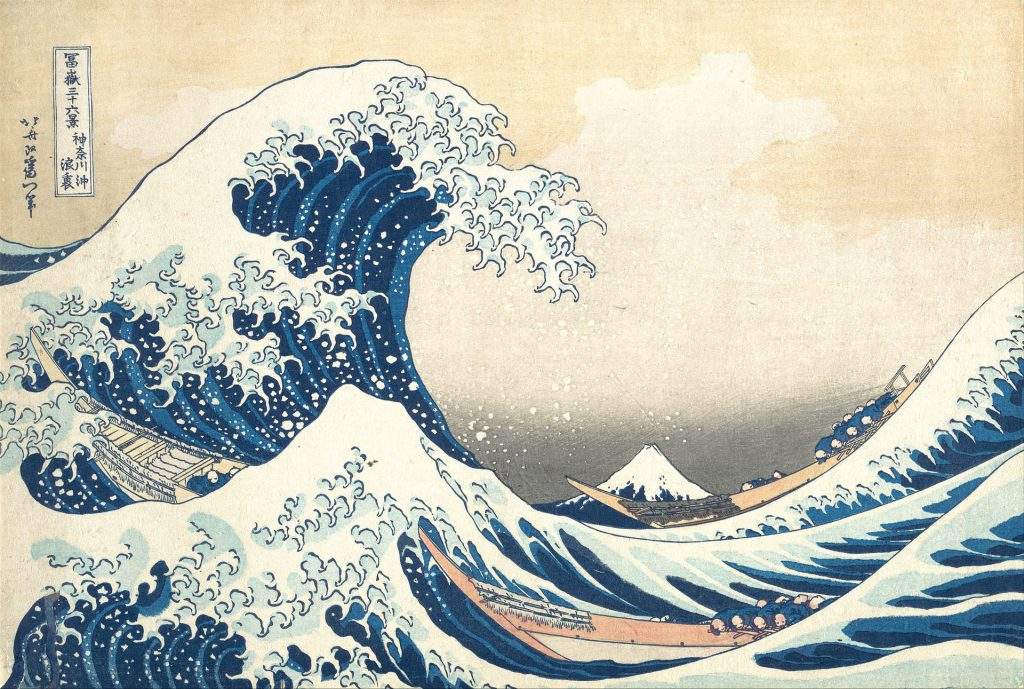 Tsunami painting by Hokusai illustrating a post about the biblical prophet Habakkuk speaking about God battling on the waters for justice.
