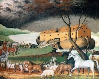 A long line of animals waits to enter the ark Noah built, under a threatening sky. Painting by Edward Hicks.