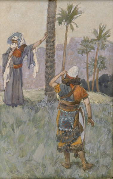 The prophet Deborah under the palm tree with the warrior Barak. Debora wears flowy robe and Barak's in a tunic with a leather apron. She leans against the tree with one hand as Barak tentatively approaches.