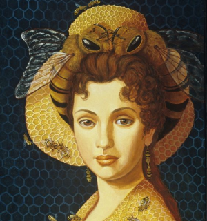 Modern renaissance style portrait of a woman's face, smiling, wearing a heat decorated with two fabric bees kissing, illustrating a post about the biblical prophet Deborah whose name means bee.