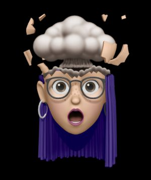 Cute emoji of a brain outgrowing a woman's head, illustrating a post about all the details involved in good judgment.