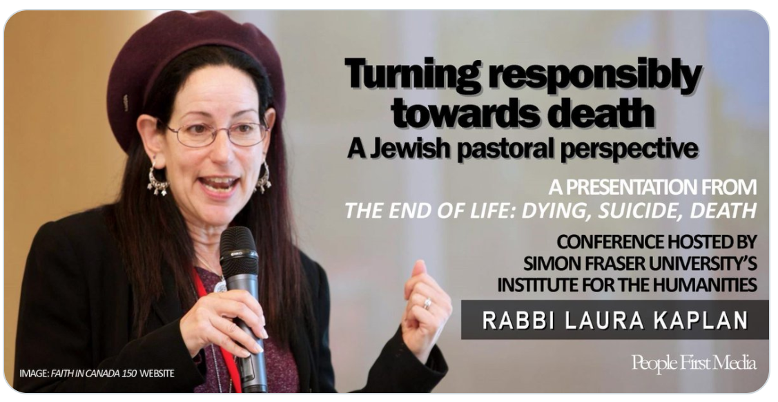 """Photo of a woman holding a microphone with the title """"Turning Responsibly Towards Death: A Jewish Pastoral Perspective"""""""